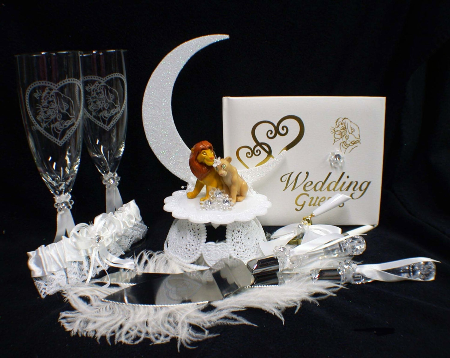 Lion King DISNEY Wedding Cake Topper LOT Glasses Knife guest