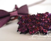Gift ideas for couples special offer: statement necklace and bow tie purple - Personalized gifts OOAK ready to ship