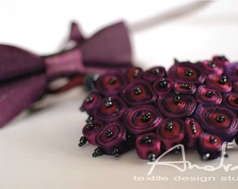Gift idea for couple, special offer: statement necklace red and bow tie purple - Personalized gift ready to ship