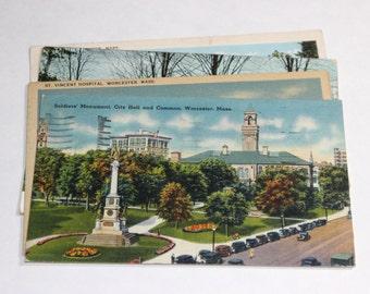 8 Vintage Worcester Massachusetts Postcards Used