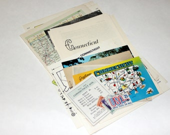 Connecticut- United States Vintage Travel Collage Kit
