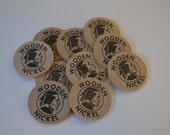 "Wooden Nickels Wood Vintage 1.5"" Donnelley Marketing Indian Craft Lot of 10"