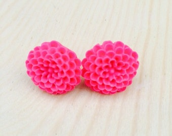 Hot pink mum earrings