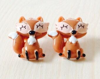 Large resin fox earrings