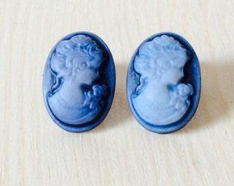 Beautiful large blue lady cameo post earrings