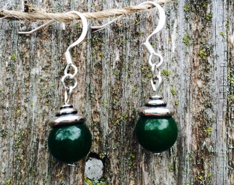 Gorgeous green stone drop earrings