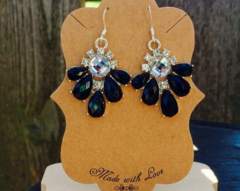 Gorgeous black and white rhinestone statement earrings