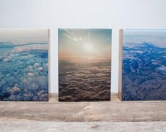 Three 5x7 photo blocks from 'Above' series