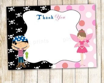 Pirate Fairy Thank You Card - Pixie Kids Birthday Party Notes Printable INSTANT DOWNLOAD