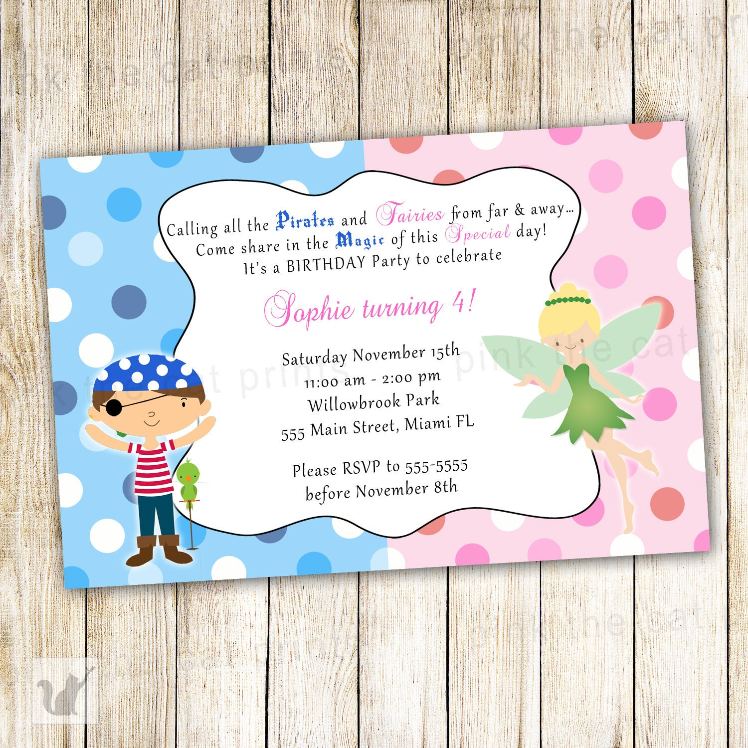 Pirate Fairy Birthday Invitation Personalized Card Kids