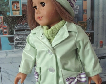 Trenchcoat, Raincoat, Slicker,  Raincoat & Hat,  18 Inch Doll Clothes