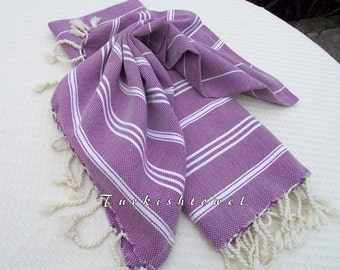 Turkishtowel-Set of 2-Hand woven Peshkirs-Hand towels,Tea towels,Dish towels,Neck Warmers,Bath Towels-White stripes on purple