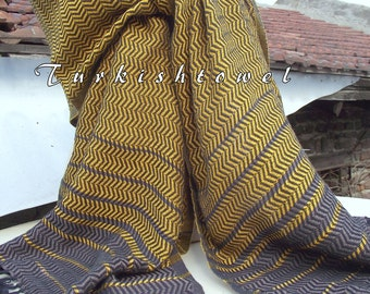 Turkishtowel-2015 Collection-Hand woven,loose weave like gauze cotton warp and weft,soft Shawl-Very warm,lovely-Mustard,Brown pin stripes