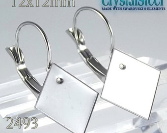 12x12mm Swarovski 2493 chessboard french clip , Hypoallergenic stainless steel