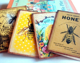 Bee Note Card Set - Vintage Book Cover Bee Culture Honeybee Facts About Honey Bee Hive Busy Bee Garden Insect - 4 Sm Greeting Cards