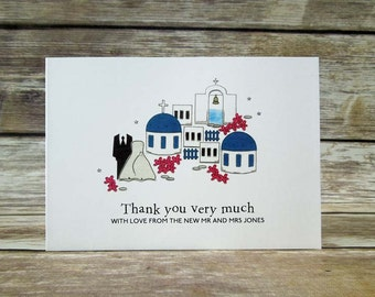 I LOVE Santorini themed wedding day thank you cards