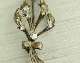 Antique Paste Stone Sterling Silver Brooch Etched Carved flower Design  (ET230 )