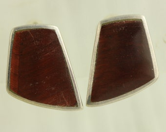 Vintage Tiger's Eye Sterling Silver Earrings Inlaid Native American Indian Clip Signed (ET520 )