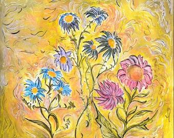 Original Mixed Media Pastel Painting, Flower Dance,  Large pastel Painting, 3' x 3'  Soft Pastel, Wall Art