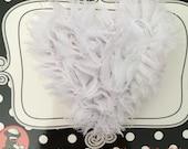 White Shabby Chiffon Heart Hair Clip