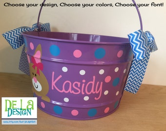 Personalized Gift basket, 16 quart metal bucket, name or monogram, polka dots, Easter, baby, or birthday gift, bunny or other design