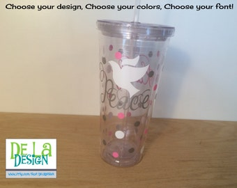 Personalized acrylic tumbler, name or monogram, Dove, Peace, Available in skinny, standard, sport bottle, mason, kiddie cup & XL cup