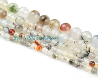 One Strand 15inches ( 38cm ) Light Colorful Agate 4mm 6mm 8mm 10mm 12mm Round Beads