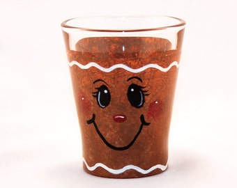 Hand Painted Shot Glass, Gingerbread Man
