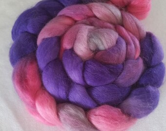 Handpainted Alpaca Roving - 4 oz - Pink, Purple with Silver Higjlights