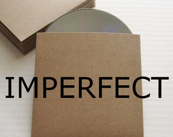 DISCOUNTED 20 Recycled Kraft CD Sleeves Wedding Favor, Photography Packaging - DVD, Imperfect