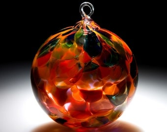 Ornament Suncatcher Hand Blown Art Glass in Orange Magic - 1 ea by Totally Blown Glass