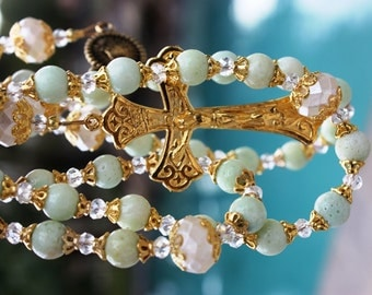 Handmade Rosary in Gorgeous Pale Green Riverstone, Our Lady of Guadalupe Center