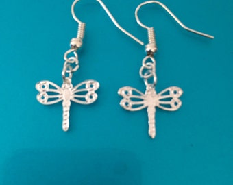 Silver plated Petite delicate Dragonfly earrings.