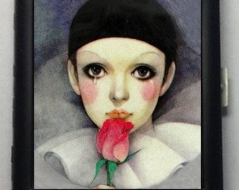 Pierrot Sad Clown Black Metal Wallet Cigarette Case  No. 629