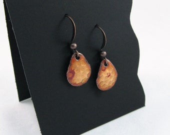 Tiny Golden-Brown Hammered Teardrop Earrings