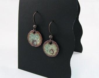 Patina-Green Hammered Circle Earrings