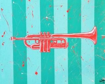 "Original acrylic painting of ""Trumpet"""