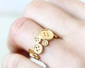 Buttons Ring / adjustable ring, choose your color, gold, silver