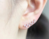 Zigzag Tiny stones Ear Climber, Pin earrings / choose your color, gold, silver