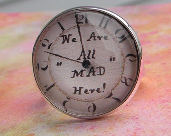 Alice in Wonderland ADjustable Ring - We ARE All MAD Here Clock Ring - Cheshire Cat Ring - Brass or Silver