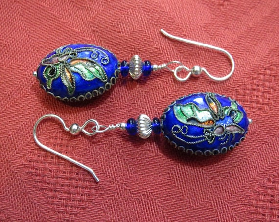 Cobalt Blue Butterfly Earrings in Chinese Enameled Silver