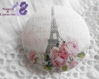 fabric button, Paris retro, 0.94 in / 24 mm