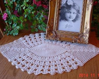 Vintage Crocheted Cream Doily - Diamond Shaped 1960s Doily