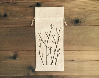 birch branches wine bag