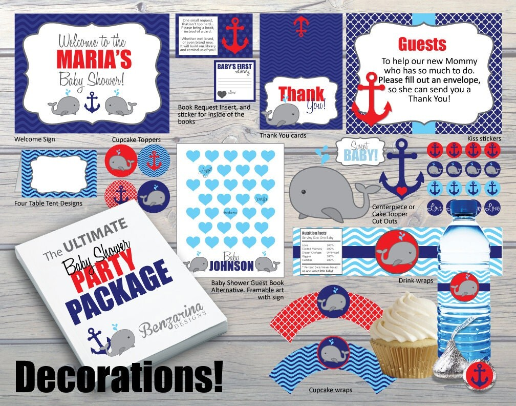 Baby shower party package decorations activities games for Baby shower decoration packages