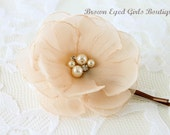 Champagne Bridal Flower Hair Clip, Champagne Wedding Hair Accessory, Champagne Bobby Pin