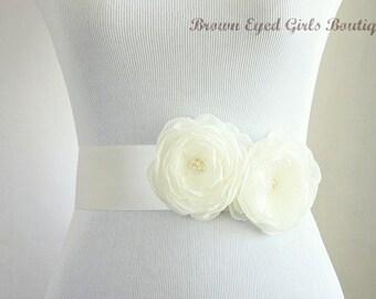 Ivory Bridal Sash, Ivory Wedding Belt, Ivory Bridal Belt -Ivory Chiffon Bridal Sash