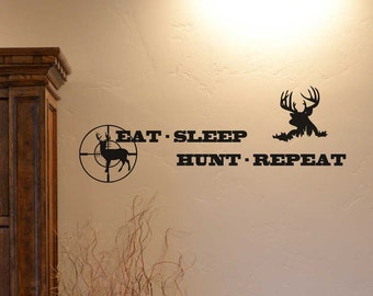 Eat Sleep Hunt Repeat custom vinyl lettering sticker wall decal home decor mural outdoor hunting stickers AC198