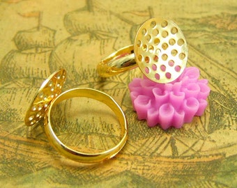 10 pcs Gold Adjustable Ring Base with 14mm Perforated Pads CH1922