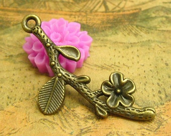 20 pcs Antique Bronze Tree Branch Charms Flower Charms 39x17mm CH1969